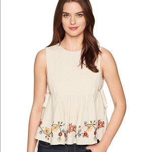 J O A Embroidered Pleated Top With Side Tie M